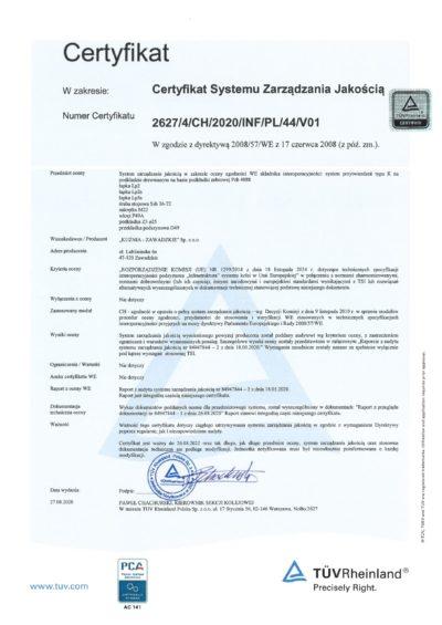 Certyfikat TUV 2627_4_CH_2020_INF_PL_44_V01